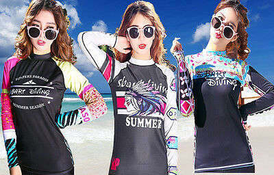 New Summer Long Sleeve Sun Shirts UV Surf Rash Guard Swimwear Top Sun Shirt