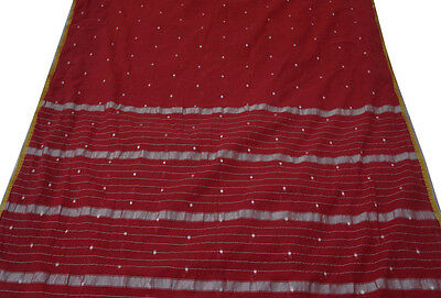 Vintage Indian Saree Cotton Blend Woven Fabric Used Decor Craft Art Red Sari 5Y