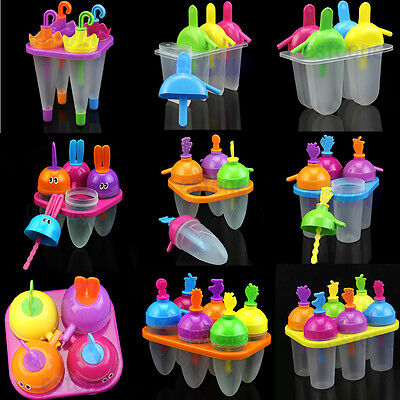 4/ 6 Cell Ice Cream Maker Pop Popsicle Mold Frozen Mould Tray Pan Kitchen DIY