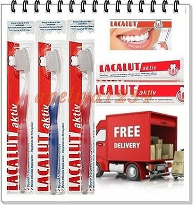 FREE Toothbrush + LACALUT ACTIV aktive TOOTHPASTE stops bleeding gumsb,BEST DEAL