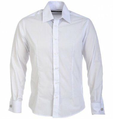 Guide London Black Fitted Long Sleeve Double Cuff Men/'s Shirt LS.71259