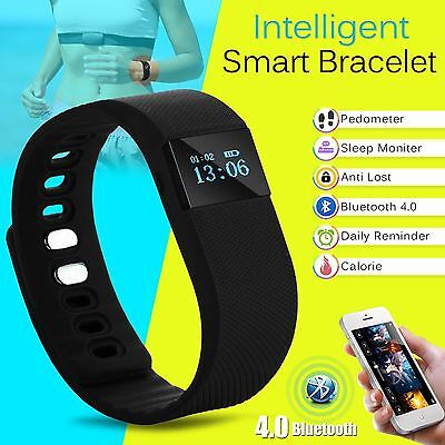 Latest Bluetooth Smart Bracelet Pedometer Watch Fitness Tracker Wrist Band Black