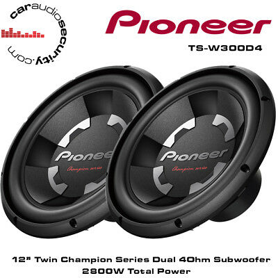 """Pioneer TS-W311D4 x 2 12"""" Inch Car Bass Sub Subwoofers 2800W Twin Subs"""