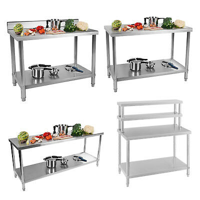 Work Table Bench Catering Kitchen Top Food Preparation Tables Stainles Steel