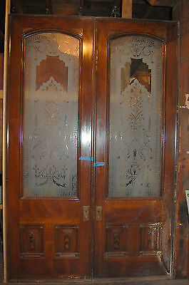 Awesome 1884 Grand Pocket Doors Etched/beveled Glass  Achitectural Antique