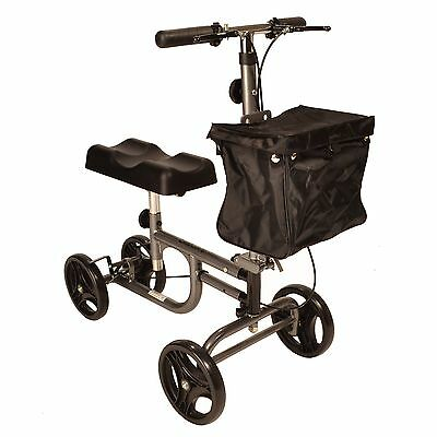 Steerable Knee walker with brakes and height adjustable handle and knee pad