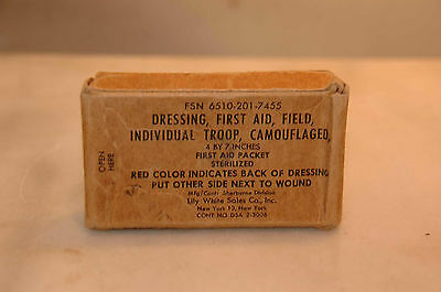 VINTAGE US ARMY Dressing First Aid Militaria 1941 WWII - $20 00
