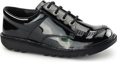 Kickers KICK LO Girls Patent Scuff Resistant Durable Leather School Shoes Black