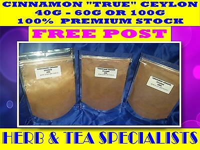 "CINNAMON POWDER ""TRUE"" CEYLON Cinnamomum verum☆ 40 - 60 or 100 grams ☆ FREE POST"
