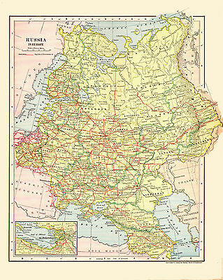 1903 Color Map of RUSSIA in EUROPE - Inset of St. PETERSBURG