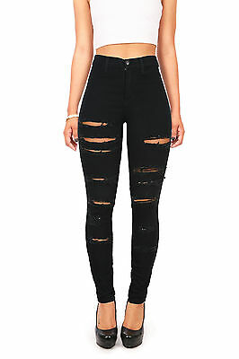 VIBRANT High Waist Rise Horizontal Rips Torn Edgy Skinny Jeans w Stretch Denim