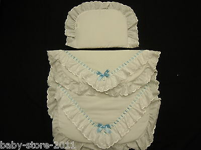 Beautiful Pram Quilt and Pillow Set suitable for MOST PRAMS  WHITE WITH  BLUE