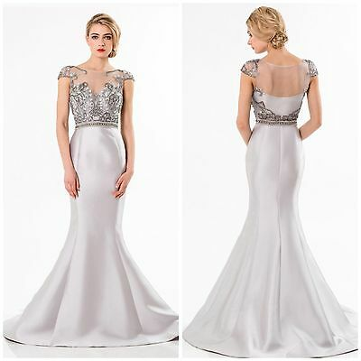 Nwt Terani Couture 5521M0612 Cap Sleeve Emblished Bodice With Trumpet Skirt$648