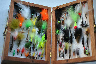 A Good Double Sided Wooden Fly Box/reservoir With Collection Of Flies And Lures