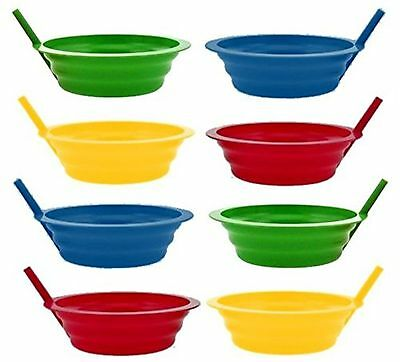 Green Direct Sip-A-Bowl 22oz Plastic Bowl with Builed in Straw Pack of 8