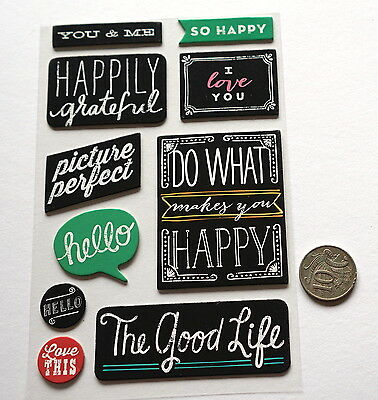 Scrapbooking No 201 - 10 Black & White Chipboard Saying Stickers - Mixed Pack