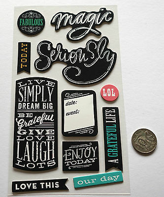 Scrapbooking No 487- 11 Black & White Chipboard Saying Stickers - Mixed Pack