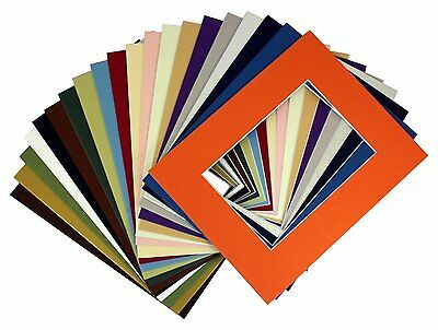 Pack of 50 8x10 Mix Color Photo Mats Mattes with WhiteCore for 5x7 +Backing +Bag