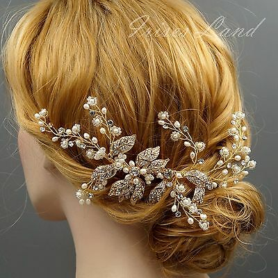 Bridal Hair Comb Freshwater Pearl Crystal Headpiece Wedding Accessories 09293 G