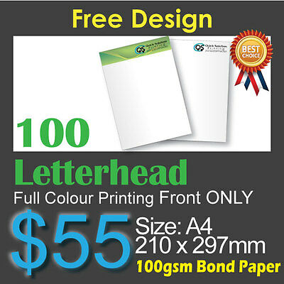 100 Letterhead full colour Printing (Front Only)on 100gsm bond paper+FreeDesign