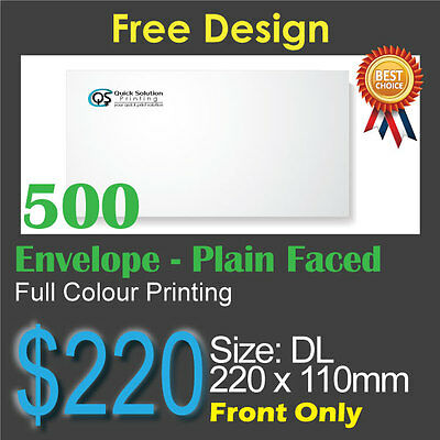 500 Plain faced Envelope Full Colour Printing (Front Only)on 100gsm bond paper