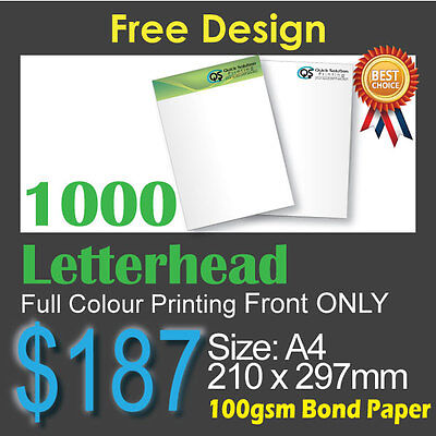 1000 Letterhead full colour Printing (Front Only)on 100gsm bond paper+FreeDesign