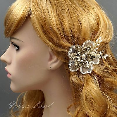 Bridal Hair Pin Silk Flower Pearl Crystal Headpiece Wedding Accessory 9297 Gold