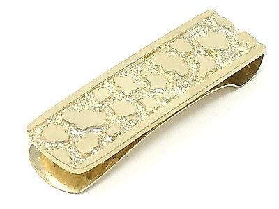 Men's 10K Solid Yellow Gold Nugget Style Money Clip Wallet Holder 14.3 grams