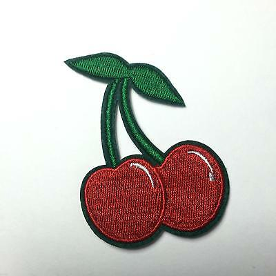 CHERRY Iron on Sew Patch Biker Fruit Red Fancy Dress Bags Jacket Embroidered