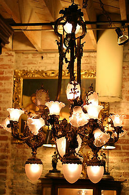 Antique Palatial French Figural Bronze Chandelier, Lalique Shades ,stunning