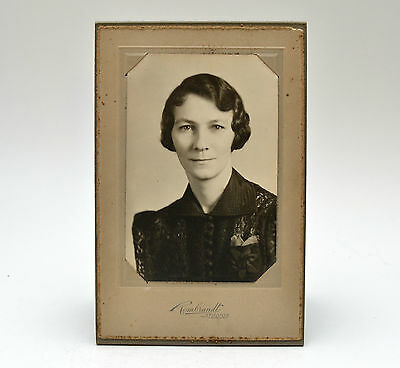 Antique Matte Old Photograph Portrait of Woman Includes Cardboard Frame/Stand