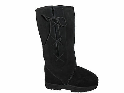 SHEEPSKIN UGG BOOTS LACE UP TALL Lady Size 5 Colour Black