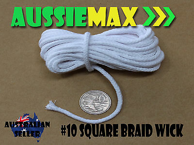 Size #10 100% Natural Square Braid Cotton Candle Wick Various Lengths