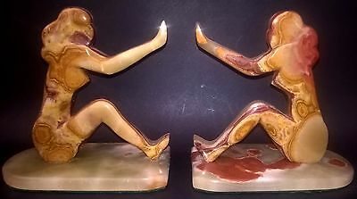 Art Deco Nude Ladies Bookends French Marble Onyx Antique