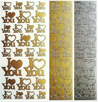 I LOVE YOU Peel Off Stickers Hearts Card Making Valentines Romance Gold Silver