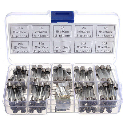 72pcs M6*30mm Glass Tube Fuse Assorted Kit 0.5/1/23/5/10/15/20/30 250V New