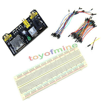 MB-102 830 Point Prototype PCB Breadboard+65pcs Jump Cable Wires+Power Supply