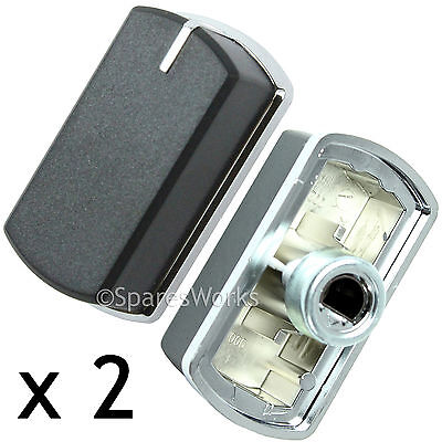 2 x Switch Knob for BELLING 444440165 444449563 Hob Oven Black Silver 083240900