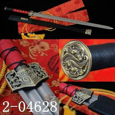 """Hand Forge Chinese Sword """"han Jian""""carbon Steels Katana Alloy Fitting"""
