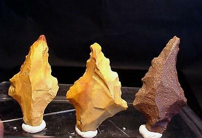 3 EXCELLENT JASPER paleo-aterian points !! 2.63 inches RARE TYPOLOGY