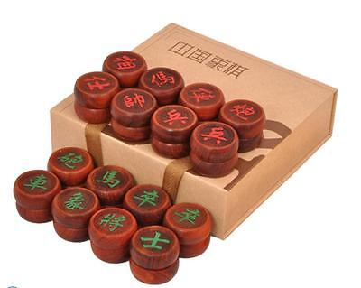 Xiangqi Chinese chess carved wooden go pieces Myanmar saffron pears Redwood box
