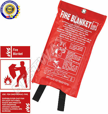 QUICK RELEASE HOME & OFFICE SAFETY LARGE FIRE BLANKET IN CASE 1M x 1M NEW