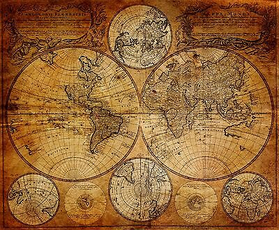 MAP OF THE World Poster Retro Nautical Maps Antique Kraft Decorative Decorative Maps Of The World on