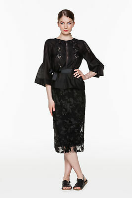 TWINSET Gonna Donna Dritta in Tulle Ricamo con Spacco T2S51D