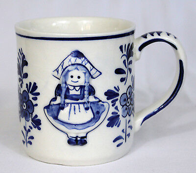 Hand Painted Delft Blue Relief Front/Back of Dutch Girl Coffee Mug Cup Holland