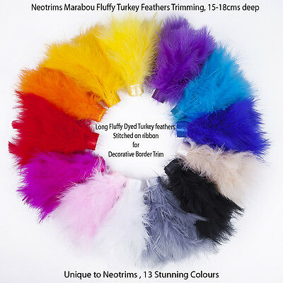 Neotrims Marabou Turkey Feathers Trimming, Border Fringe Satin Ribbon, Costume
