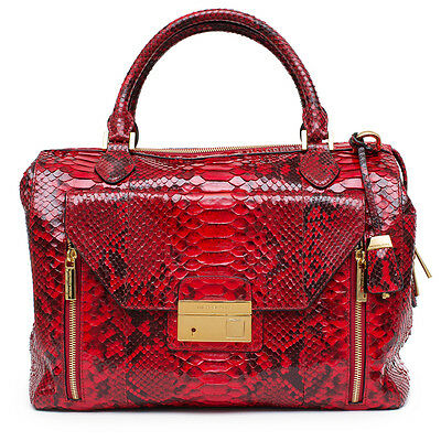 81de79ca7cbe MICHAEL KORS COLLECTION NEW Gia Python Satchel Crimson Red Bag Handbag Purse
