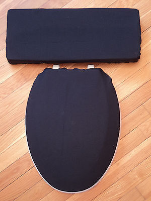 Solid Black - Bathroom Decor - Toilet Seat & Tank Lid Cover Set