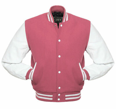 Varsity Jacket(PINK/WHITE)  Men's Fashion GREY Brand Wool Body & Leather Sleeves