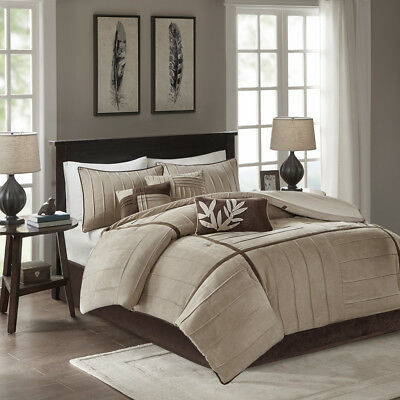 BEAUTIFUL COZY SOFT MODERN 7 PC CABIN BROWN TAUPE TAN BEIGE COMFORTER SET NEW!